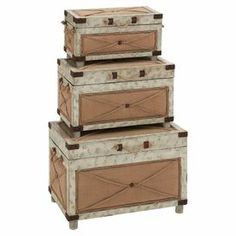 """Bring classic appeal to your living room or home library with these wood trunks, showcasing burlap accents and a beige finish.  Product: Small, medium and large trunkConstruction Material: Canvas, burlap and Chinese fir wood Color: BeigeFeatures:  Burlap accentsLift top lidDimensions: 29"""" H x 25"""" W x 22"""" D (large)"""