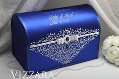 Welcome! Glad to see you in a wedding shop! Wedding Card Box for Royal blue and silver wedding Price is for one box. The box for money is an indispensable tool in the process of congratulations to newlyweds. This box is for envelopes with money, cards and congratulations to newlyweds. ♥