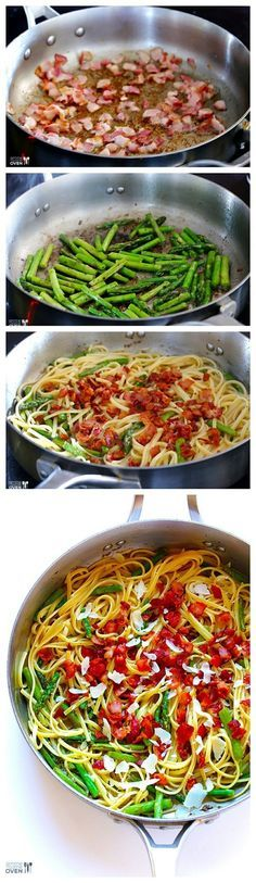 Use 3/4 cup wine instead of 1/2; use 6 instead of 8 bacon slices; use 1/4 instead of 1/2 cup Parmesan cheese.   5-Ingredient Bacon Asparagus Pasta