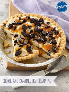 Cool off with a four ingredient delicious Cookie and Caramel Ice Cream Pie. Frozen pie crust makes preparation easy as pie!