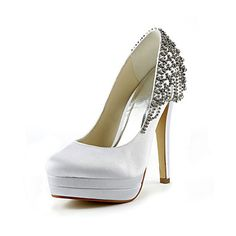 Satin Stiletto Heel Pumps With Rhinestone Wedding Shoes (More Colors) – USD $ 89.99