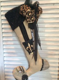 Christmas Stocking for the New Orleans Saints Fan New Orleans Saints Football, Wool Fabric, New York Giants, Beautiful Christmas, Pittsburgh Steelers, Dallas Cowboys, Vintage Lace, Black Satin, Christmas Stockings