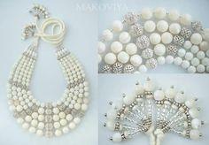 Traditional Ukrainian pearl bead necklace (namysto) by Olga Troyan (Makoviya)