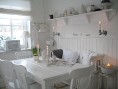 Love the shelf Cottage Shabby Chic, Shabby Chic Dining, Shabby Chic Decor, Swedish Decor, Cottage Kitchens, Cottage Interiors, White Rooms, White Decor, Country Decor
