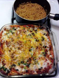"""Enchilada Pie - """"Recipe was good i just added some scallions and olives and mixed w/ mozzarella cheese!"""" @allthecooks #recipe"""