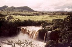 Waterfall in Wina River, Cameroon.