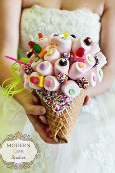 rad take on wedding candy bouquet