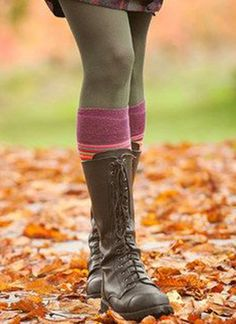 Cute under a dress or skirt! Olive tights, Knee Socks, and Lace Up Boots