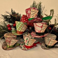 Festive top hat Christmas ornaments