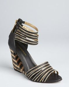 Rebecca Minkoff - black leather 'Foxy' cutout wedge sandals