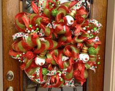 Winter Wreath, Red and Green deco mesh wreath, Christmas wreath, Snowman wreath, Deco mesh wreath
