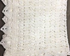 White crochet christening baptism baby blanket with fancy edge Can Tab Crafts, Baby Shower, Baby Girl Blankets, Fancy, Baby Girl Gifts, Newborn Gifts, Unisex Baby, Christening, Crochet Baby