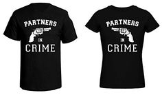 """His & Her Matching """"Partners In Crime"""" T-Shirts. These his and her matching shirts are perfect for the companions in crime. What couple would not need to wear these humorous and classy shirts together? You decide his and her sizes for the best fit. Quick shipping. Product Options 2 Shirts Inlcuded (His & Hers) Mens Sizes S-3XL Womens... http://geek-tshirts.com/his-her-matching-partners-in-crime-t-shirts/"""