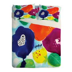 CayenaBlanca Big Flowers Sheet Set Lightweight   DENY Designs Home Accessories