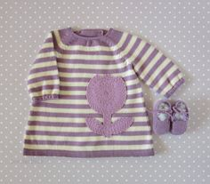 knitted striped baby dress shoes in lilac and pearl by tenderblue