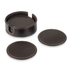 Dark Brown Genuine Leather Coasters With Caddy (Set of 6) - BedBathandBeyond.com