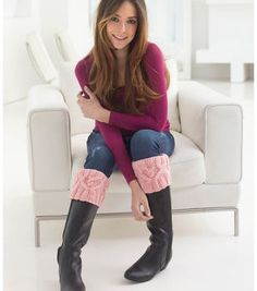 Cabled Heart Boot Cuffs #knit - @joannstores #valentinesday