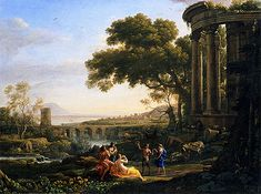 Claude Lorrain Paintings | ... Nymph and Satyr Dancing, 1641 | Claude Lorrain | Painting Reproduction