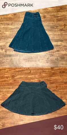 Garnet Hill Teal Corduroy Flared Skirt Rich teal color, excellent condition Garnet Hill Skirts A-Line or Full