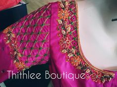 Stunning pink color bridal designer blouse with floral design hand embroidery gold thread and zardosi work. Pattu Saree Blouse Designs, Blouse Designs Silk, Designer Blouse Patterns, Bridal Blouse Designs, Kurta Designs, Kids Blouse Designs, Simple Blouse Designs, Hand Designs, Maggam Work Designs