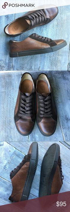 """Frye Leather Sneakers: Low Lace Frye's take on a classic low lace sneaker kicked up a notch. """"Gemma"""" is constructed of solid leather 😏 Gorgeous and cool as heck. This pair is in like new condition showing absolutely minimal signs of wear, the bottoms aren't even scuffed. Espresso colored Medium to dark brown soft leather on body and inner soles with a leather suede accent along laces. The outer soles are dark brown. Open to reasonable offers! Frye Shoes Sneakers"""