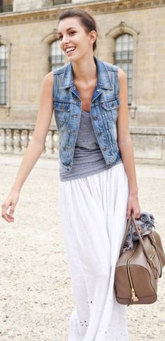 denim vest with grey and white