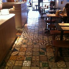 Floor Tiles in Franco Manco Pizzeria,Chiswick.    Taken from the owner's villa in Venice, Italy