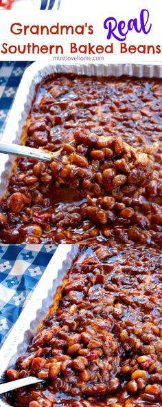 Grandma's Real Southern Baked Beans is down home southern cooking at it's best - made with ingredients like bacon, roasted red pepper, molasses, brown sugar, and cider vinegar - this recipe will stay at the top of your list of favorites! They are even bet Baked Bean Recipes, Vegetable Recipes, Healthy Recipes, Beans Recipes, Healthy Food, Best Baked Beans, Crockpot Baked Beans, Bacon Baked Beans, Baked Beans In Oven