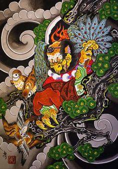 Эскиз татуировки с изображением Карасу – тэнгу.