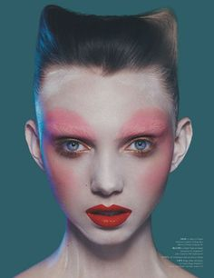 Intensely Overused Blush Editorials - Hanna Svensson Stands Out in Dansk Magazine Spring 2014 Issue (GALLERY) Over blush trend in dansk magazine.. interesting fashion piece