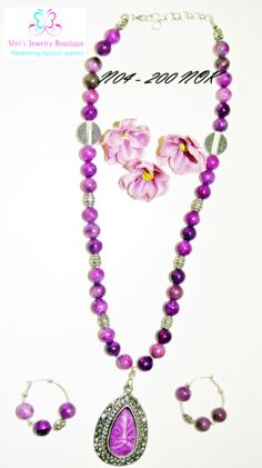 Fantastic lavender with bead with matching pendant and earring Code no :  N04 Price : 200 KR