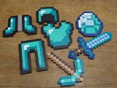Minecraft Diamond Collection perler beads by by Soggy_Enderman
