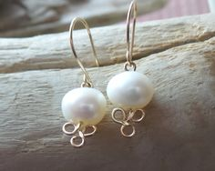 Golden Trinity Pearl Earrings-Gold Celtic  Style White Pearl Dangle Earrings-Gold Bridal Earrings, Inspirational Celtic Earrings, Christian by WaterRhythmGems on Etsy