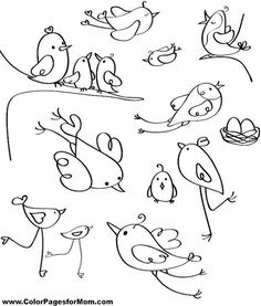 Trendy ideas for bird doodle drawing coloring pages - Pet care is both enjoy. Cartoon Bird Drawing, Cartoon Birds, Funny Birds, Bird Drawings, Doodle Drawings, Doodle Art, Easy Drawings, Sheep Cartoon, Easy Pencil Drawings