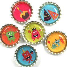 Monster Party- bottle cap creativity. I have always wondering how to make use of my beer bottle caps for my home decoration and this is one of the good ideas.
