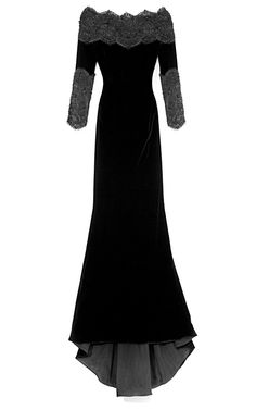 BY MARCHESA  SEE DETAILS HERE: Stretch Velvet Gown With Re-Embroidered Lace Accents