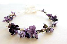 Plum Floral Crown. Bridal Accessories. Bohemian. Bridal. Purple Flowers, Hair Crown. Woodland Wedding. Spring, Summer, from rosesandlemons on Etsy.