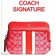 "Selling this ""BNWT COACH SIG. STRIPE PVC DOUBLE ZIP COIN  SALE"" in my Poshmark closet! My username is: sherry8888. #shopmycloset #poshmark #fashion #shopping #style #forsale #Coach #Handbags"