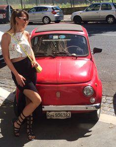 Ootd Roma... Sandália gladiadora, cropped e saia longa