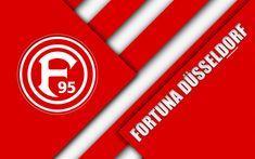 تحميل خلفيات فورتونا دوسلدورف, شعار, 4k, الألماني لكرة القدم, تصميم المواد, الأحمر التجريد, دوسلدورف, ألمانيا, الدوري الالماني 2, كرة القدم