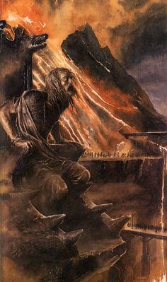 """elgrancabron: by Alan Lee, from Children of Húrin """"Captured, Húrin was brought before Morgoth and tortured for the secret of Gondolin's location. When he would not break, Morgoth cursed him and all his kin. The Dark Lord then chained Húrin to a chair high on the slopes of Thangorodrim where, through Morgoth's sorcery, he could watch the tragedies that would befall his family."""""""