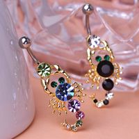 Rhinestone Scorpion Piercing Spiral Ring Bell Button Rings Sexy Jewelry Body Accessories Navel Women Percing Pircing Wholesale