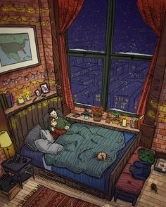 A big bed by a snowy window. Snowy Window, Casa Anime, Image Painting, Painting Art, House Drawing, Art Graphique, Aesthetic Art, Graphic, Wallpaper