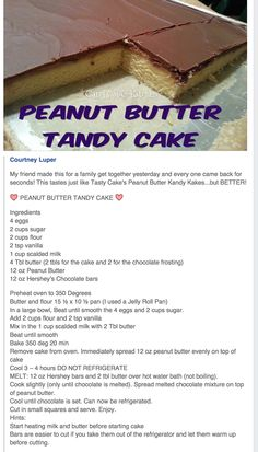 Peanut Butter Tandy Cake Source by Peanut Butter Desserts, Cookie Desserts, Just Desserts, Delicious Desserts, Yummy Food, Baking Recipes, Cake Recipes, Dessert Recipes, Dessert Ideas