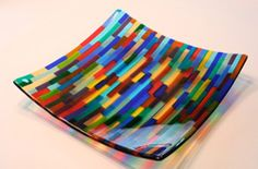 June Omaha Summer Arts Festival - Artist: Larry Budwig from Omaha, Nebraska Fused Glass Plates, Fused Glass Jewelry, Fused Glass Art, Glass Wall Art, Glass Ceramic, Glass Dishes, Glass Bowls, Glass Fusion Ideas, Glass Fusing Projects