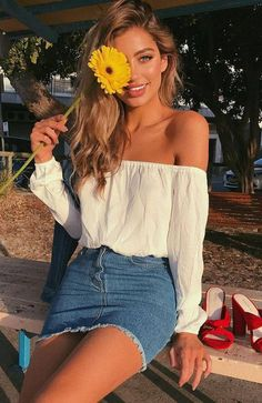 trendy outfit_white off shoulder dress red heels denim skirt