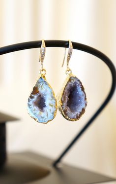 Luminous Starry Night Geode Druzy Earring  Agate by VintagePinch #etsy #loveit #fab #gorge #mystyle #instyle #fashion #fashionblogger #blogger #teacherstyle #want #ooak #handmade #bridal #weddingblogger #sfblogger #nyblogger #vogue #trendy
