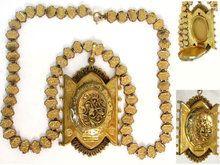 Antique Locket Necklace * Victorian fancy bookchain * LARGE ornate rose & yellow gold filled Estate Jewelry * keepsake Fleur de lis design