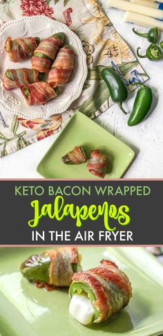 Keto Bacon Wrapped Jalapeños in the Air Fryer - with only 3 ingredients you can make this low carb appetizer in 15 minutes! Sugar Free Recipes, Low Carb Recipes, Healthy Recipes, Whole30 Recipes, Bacon Recipes, Healthy Foods, Low Carb Appetizers, Appetizer Recipes, Snack Recipes