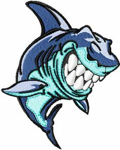 Shark free machine embroidery design